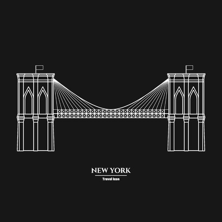 Vector Illustration of Outline     Brooklyn Bridge  Icon for Design, Website, Background, Banner. Silhouette Landmark Symbol of USA. Travel Infographic Element Template