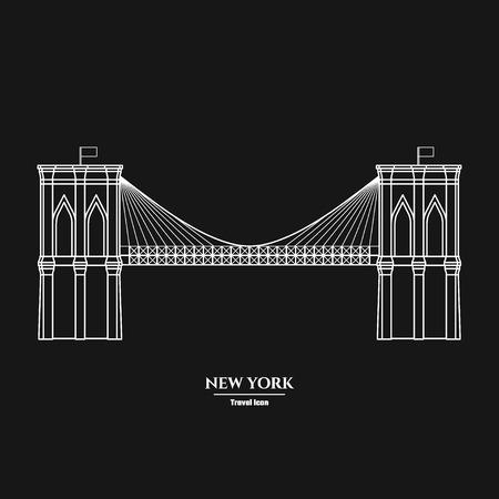 Vector Illustration of Outline     Brooklyn Bridge  Icon for Design, Website, Background, Banner. Silhouette Landmark Symbol of USA. Travel Infographic Element Template