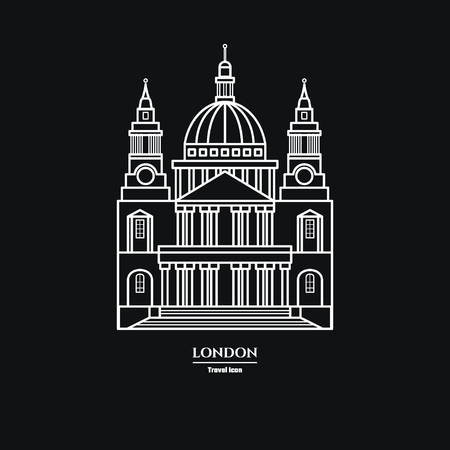 Vector Illustration of St Pauls Cathedral Icon Outline for Design, Website, Background, Banner. Travel Britain Landmark Element Silhouette Template for Tourism Flyer