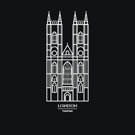 british culture: Vector Illustration of Westminster Abbey Icon Outline for Design, Website, Background, Banner. Travel Britain Landmark Element Silhouette Template for Tourism Flyer