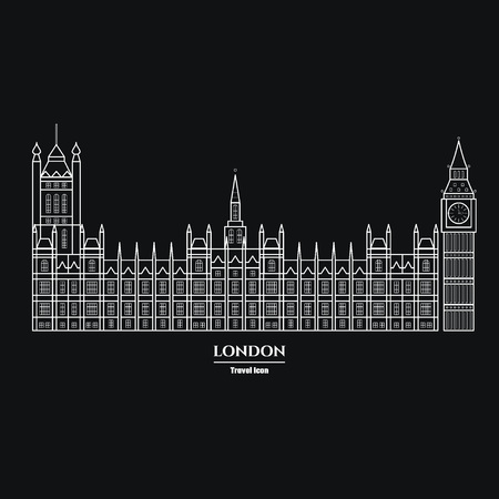 houses of parliament london: Vector Illustration of Big Ben and Parliament  Icon Outline for Design, Website, Background, Banner. Travel Britain Landmark Element Silhouette Template for Tourism Flyer Illustration