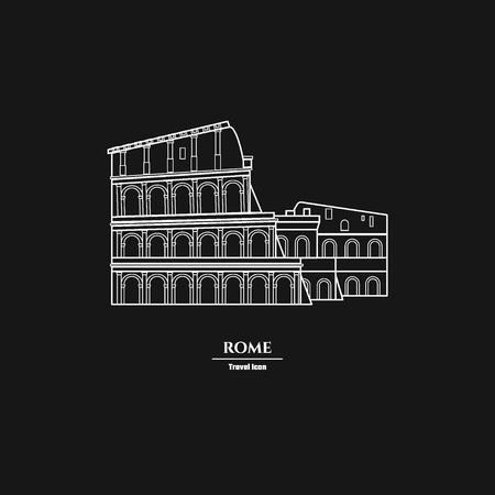 persone nere: Illustrazione vettoriale di Roma Landmark Outline per il Design, Website, sfondo, banner. Silhouette Italia Turismo Infografica Element. Modello vacanze. Colosseo, Arena Vettoriali