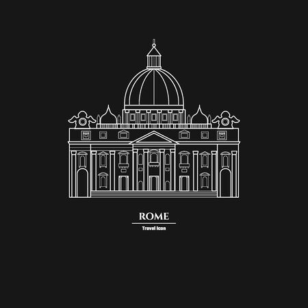 basilica: Vector Illustration of Rome Landmark Outline for Design, Website, Background, Banner. Silhouette Italy Tourism Infographic Element. Vacation Template. the Papal Basilica