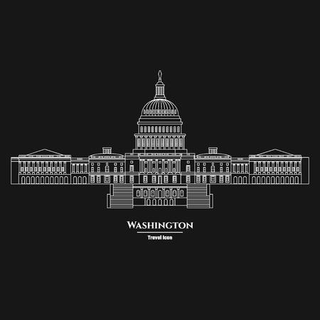 senate: Vector Illustration of Outline     Washington United States Capitol Icon for Design, Website, Background, Banner. Silhouette Landmark Symbol of USA. Travel Infographic Element Template.