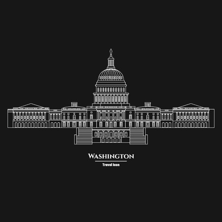 Vector Illustration of Outline     Washington United States Capitol Icon for Design, Website, Background, Banner. Silhouette Landmark Symbol of USA. Travel Infographic Element Template.