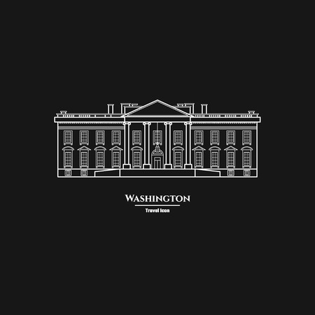 Vector Illustration of Outline     Washington United States White House Icon for Design, Website, Background, Banner. Silhouette Landmark Symbol of USA. Travel Infographic Element Template. Illustration