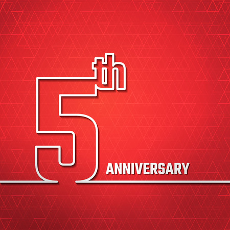 5th: Vector Illustration of Anniversary 5th Outline for Design, Website, Background, Banner. Jubilee silhouette Element Template for greeting card