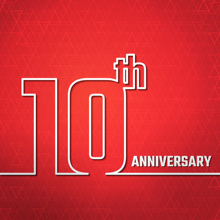 10th: Vector Illustration of 10th Anniversary Outline for Design, Website, Background, Banner. Jubilee silhouette Element Template for greeting card Illustration