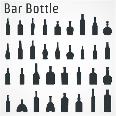 brandy: Vector Illustration of Bar Bottle Icon for Design, Website, Background, Banner. Alcohol Element for Barman Infographc. Menu or restaurent Element Template. Vodka, Wine, tequila, liqueur, Brandy