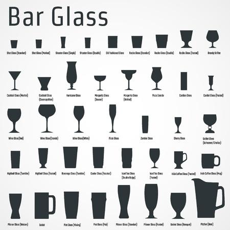 water glass: Illustrazione vettoriale di silhouette Set di Bar Glasss per la progettazione, sito web, sfondo, banner. Ristorante Element Template isolato per il menu. Vodka, Birra, whisky, vino per Infografica Vettoriali