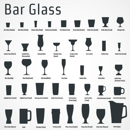 Vector Illustration of silhouette Set of Bar Glasss  for Design, Website, Background, Banner. Restaurant Element Isolated Template for Menu. Vodka, Beer, Whiskey, Wine for Infographic