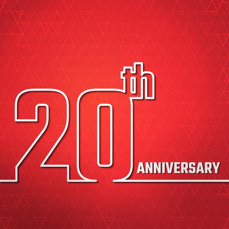 Illustrazione di vettore del 20 ° anniversario Outline per il Design, Website, sfondo, banner. Giubileo silhouette Element Template per biglietto di auguri Archivio Fotografico - 49779986