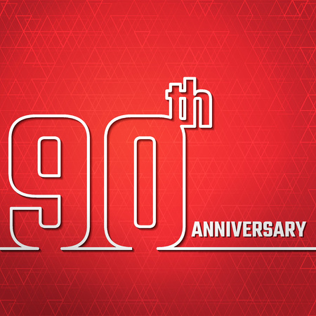 90th: Vector Illustration of Anniversary 90th Outline for Design, Website, Background, Banner. Jubilee silhouette Element Template for greeting card
