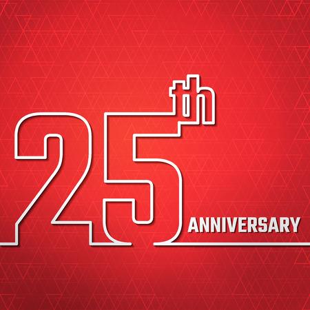 aniversario: Ilustración del vector del Aniversario 25 Esquema de diseño, Web site, fondo, bandera. Jubileo silueta Plantilla Elemento para la tarjeta de felicitación