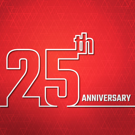 25th: Vector Illustration of Anniversary 25th Outline for Design, Website, Background, Banner. Jubilee silhouette Element Template for greeting card