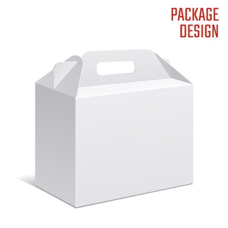 grayscale: Vector Illustration of Clear Gift Carton Box for Design, Website, Background, Banner. White Habdle Package Template isolated on white. Retail pack with for your brand on it Illustration