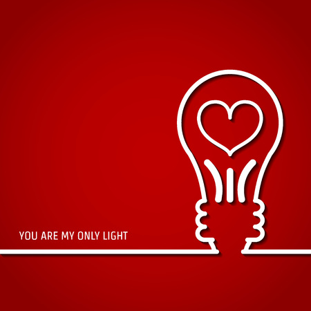 lamp outline: Vector Illustration of Outline Valentines day for Design, Website, Background, Banner. Heart Silhouette for greeting card or Premium flyer. Red and white energy lamp for you lovers