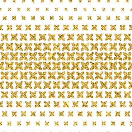 デザイン、背景、バナーの金の幾何学的なシームレス パターンのベクトル イラスト。花散乱高級要素テンプレート。輝く花