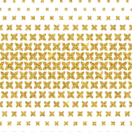 Vector Illustration of Gold Geometric Seamless Pattern for Design, Website, Background, Banner. Flowers Scattered Luxury Element Template. Glittering floral