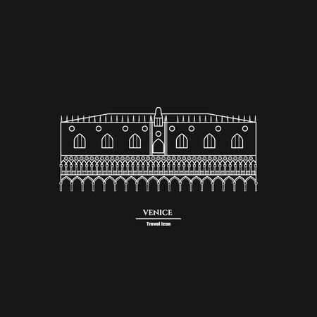marco: Vector Illustration of Venice Landmark Outline for Design, Website, Background, Banner. Silhouette Italy Tourism Infographic Element. Vacation Template. the  Doges Palace