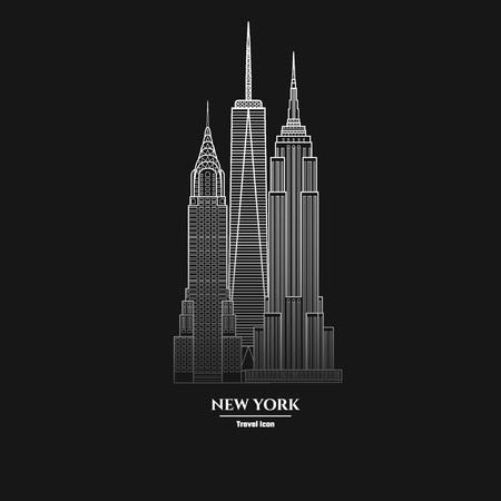 Vector Illustration of Outline     New York Skyscraper Icon for Design, Website, Background, Banner. Silhouette Landmark Symbol of USA. Travel Infographic Element Template. empire, chrysler, liberty, Illustration