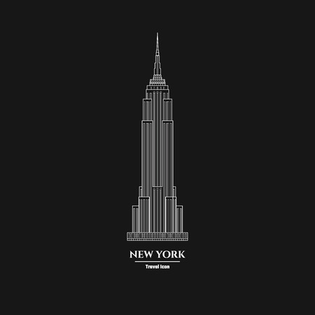 Vector Illustration of Outline     New York Skyscraper Icon for Design, Website, Background, Banner. Silhouette Landmark Symbol of USA. Travel Infographic Element Template.