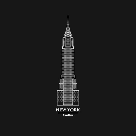 Vector Illustration of Outline     New York Skyscraper Icon for Design, Website, Background, Banner. Silhouette Landmark Symbol of USA. Travel Infographic Element Template.