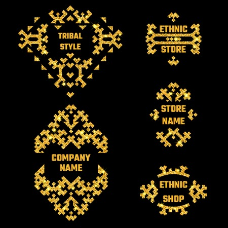 greet: Vector Illustration of Ethnic Style Gold Symbol for Design, Website, Background, Banner. Tribal Elements Golden Template for Flyer, Invitation, greet card, shop. Luxury Boho Brand Store Shine concept