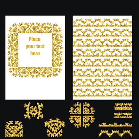 greet: Vector Illustration of Ethnic Style Gold Brochure for Design, Website, Background, Banner. Tribal Elements Golden Template for Flyer, Invitation, greet card. Luxury Boho Shine Brand concept Illustration