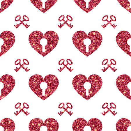 textile background: Vector Illustration of Valentine Heart Seamless Pattern for Design, Website, Background, Banner. Shine love texture Template. Pink Glamour Valentines Holiday card Illustration