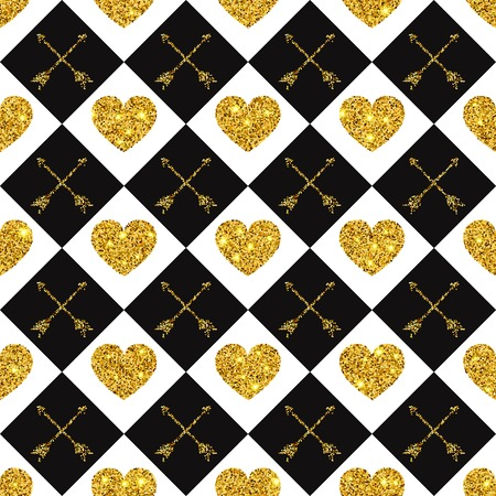 golden background: Vector Illustration of Valentine Heart Seamless Pattern for Design, Website, Background, Banner. Shine love texture Template. Glamour Gold Valentines Holiday card