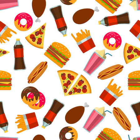 food illustration: Flat Vector Illustration of FastFood for Design, Website, Background Banne. FAt Meal Food Template for Menu. Pizza, Soda, Chicken, Potato, Popcorn, Hot Dog, Donat