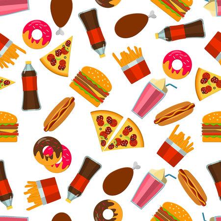 Ilustración del vector de la plana Comida rápida por diseño, Web site, Fondo Banne. Plantilla comida rica en grasas Alimentos para el menú. Pizza, soda, pollo, patata, palomitas de maíz, perro caliente, Donat Ilustración de vector