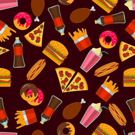 fat dog: Flat Vector Illustration of FastFood for Design, Website, Background Banne. FAt Meal Food Template for Menu. Pizza, Soda, Chicken, Potato, Popcorn, Hot Dog, Donat