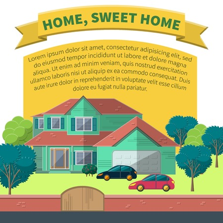 suburbia: Flat Vector Illustration of Apartment for Design, Website, Background Banner. Family Home With garden Tree and car. Building  Template for Suburbia, building business