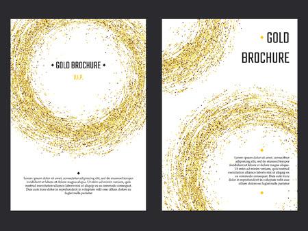 Vector Illustration of Golden Brochure for Design, Website, Background, Banner. Gold Sparkle dust Element Template for premium invitation for wedding or Party. Shine Flyer 일러스트