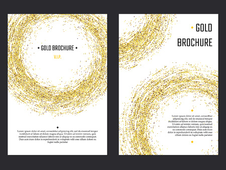 Vector Illustration of Golden Brochure for Design, Website, Background, Banner. Gold Sparkle dust Element Template for premium invitation for wedding or Party. Shine Flyer Illustration