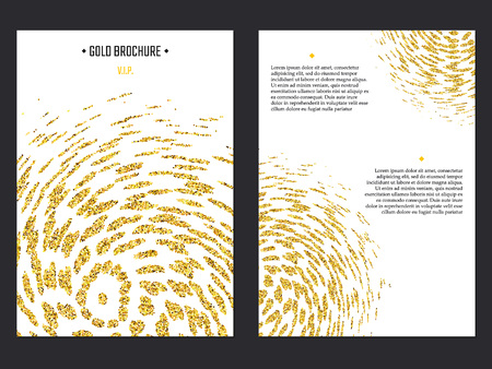 Vecteur de Brochure d'or pour la conception, le site, de fond, bannière. Or étincelle poussière modèle Element for invitation prime pour mariage ou une fête. Briller Flyer