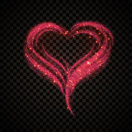 Vektor-Illustration der Valentinstag-Karte für Design, Website, Banner. Herz Element Template für Shiny Pink Love Valentine oder Einladung zur Hochzeit. Auf transparentem Hintergrund