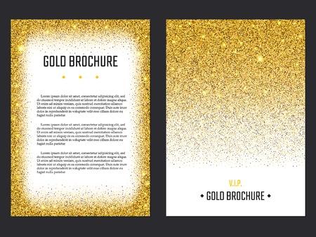 Vector Illustration of Golden Brochure for Design, Website, Background, Banner. Gold Sparkle dust Element Template for premium invitation for wedding or Party. Shine Flyer Ilustração