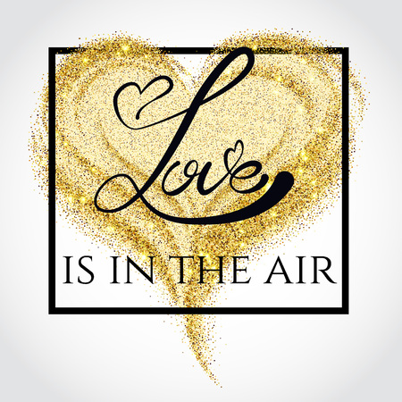 gold dust: Vector Illustration of Gold Dust Valentines day Lettering card for Design, Website, Background, Banner. Heart Element Template for Shiny Golden Love Typography Valentine or Invitation to Marriage.