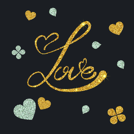 gold dust: Vector Illustration of Gold Dust Valentines day Lettering card for Design, Website, Background, Banner. Heart Element Template for Shiny Golden Love Typography Valentine or Invitation to Marriage. Calligraphy for lovers