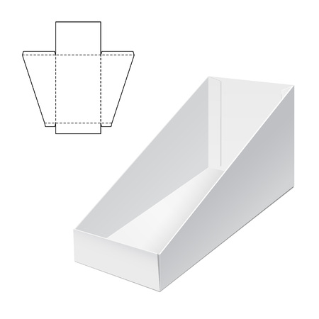 die line: Vector Illustration of Holder Die Cut craft Box for Design, Website, Background, Banner. Folding package Blank Displays Template. Empty Fold pack with die line for your brand on it