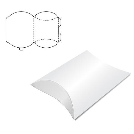 Ilustracja wektorowa pole rzemiosła poduszki do projektowania, strony internetowej, tło, baner. Składany szablon opakowania. Złóż opakowanie z linią wykrojników dla Twojej marki