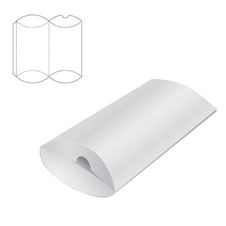 Ilustracja wektorowa Pillow rzemiosła Box projektu, stronie internetowej, tło, transparent. Składany szablon pakietu. Złożyć opakowanie z matrycy linii dla Twojej marki na nim