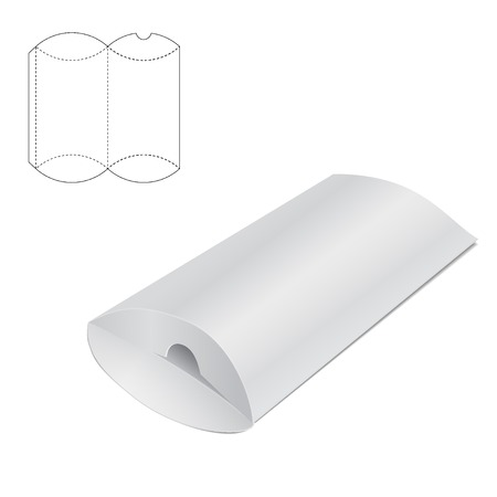 die line: Vector Illustration of Pillow craft Box for Design, Website, Background, Banner. Folding package Template. Fold pack with die line for your brand on it