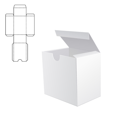 empty box: Vector Illustration of White Product Cardboard Package Box for Design, Website, Banner. Mockup Element Template for Your Brand or Product. White box Isolated on White Background