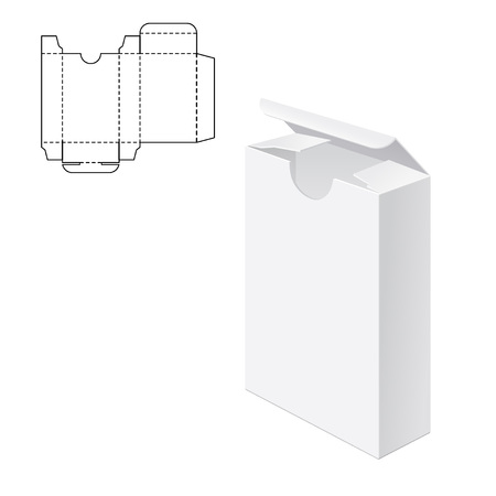Vector Illustration of Gift Box mestiere per il Design, sito web, Sfondo, Striscione. Pieghevole pacchetto modello. Fold pacco con la linea di morire per la vostra marca su di esso Archivio Fotografico - 51583359