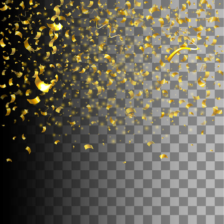 Vector Illustration of Golden Confetti decoration colorful for Design, Website, Background, Banner. Holiday party Element Template. Gold Festival object isolated on transparent