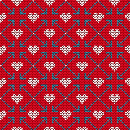 the ugly: Vector Illustration of St. Valentines Ugly sweater for lovers for Design, Website, Background, Banner. Knitted heart Element Template with love for gift